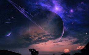Картинка ночь, дерево, планеты