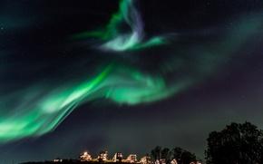 Картинка звезды, ночь, дома, северное сияние, Норвегия