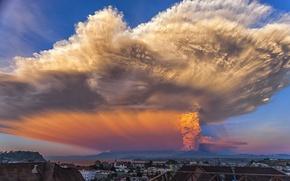 Картинка небо, пепел, извержение, Volcan Calbuco