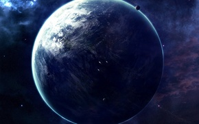 Обои корабли, планета, звезды
