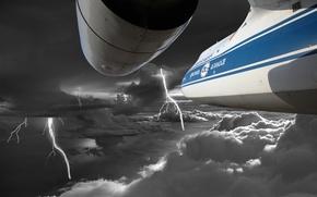 Картинка гроза, полет, storm, clouds, airplane, ан-124, ruslan, an-124