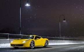 Обои ferrari, 458, italia, yellow, supercar, snow, front, road, nigth
