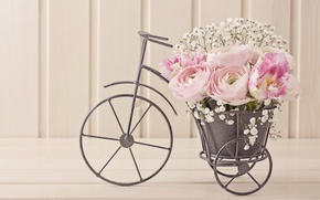 Картинка велосипед, букет, тюльпаны, композиция, ранункулюсы