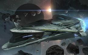 Картинка космос, фантастика, корабль, планета, астероиды, game wallpapers, Star Citizen
