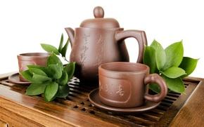 Картинка листья, чай, чайник, чашки, посуда, белый фон, заварник, глиняная