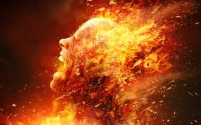 Обои death, fire, голова, плоть