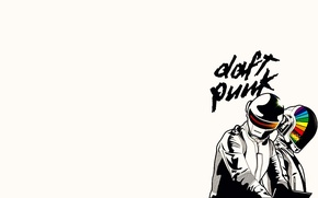 Обои минимализм, фон, музыка, шлемы, daft punk, группа