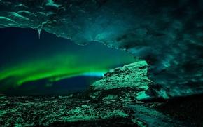 Картинка лед, сияние, пещера