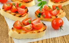 Обои хлеб, бутерброд, помидоры, багет, томаты, салфетка, черри