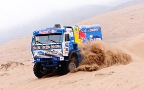 Картинка Песок, Туман, Пустыня, kamaz, Rally, Ралли-марафон, КАМАЗ, Dakar, КАМАЗ-мастер, Дакар, Team KAMAZ Master, Дюны
