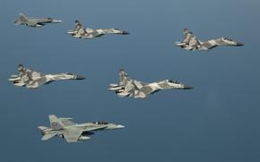 Картинка Небо, Полёт, sky, Истребители, Су-27, F-18, Su-27, ВВС Индонезии, Ф-18, Indonesian Air Force
