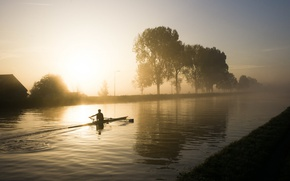 Картинка туман, утро, канал, гребля