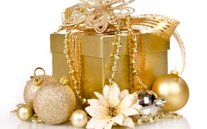 Картинка украшения, золото, подарок, Рождество, Новый год, golden, Christmas, box, gift, decoration, xmas, Merry