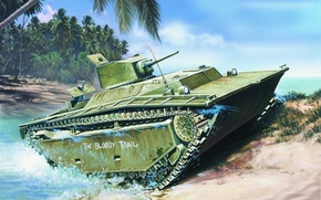 Картинка war, art, painting, ww2, Landing Vehicle Tracked, LVT 4 Alligator