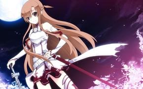 Обои девушка, ночь, оружие, луна, меч, фэнтези, арт, sword art online, yuuki asuna, uiu