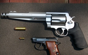 Картинка silver, pistol, black, revolver, Magnum, hunter, Smith & Wesson, handgun, .44 magnum, double action revolver