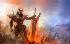 Обои энергия, Jarvan IV, туман, hi-tech, меч, Воин, броня, League of Legends