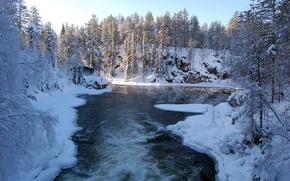 Картинка лед, лес, снег, деревья, река, Зима, домик
