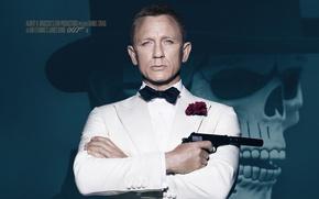 Картинка шляпа, 007: СПЕКТР, SPECTRE, фон, James Bond, Дэниэл Крэйг, череп, Джеймс Бонд, Daniel Craig, 007, ...