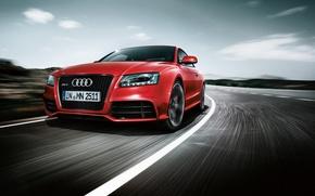 Обои дорога, красный, Audi, скорость, RS5