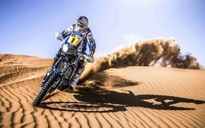 Картинка Мотоцикл, Гонщик, Песок, Дюна, Скорость, День, Rally, Спорт, Dakar, Мото