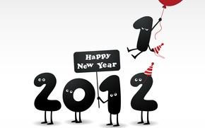 Картинка 2012, год, happy new year, 1 улетела, воздушном шарике