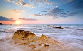 Картинка море, пейзаж, закат, птицы