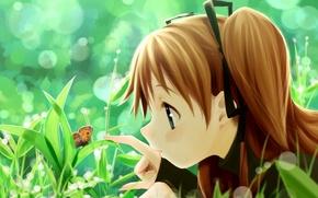 Обои лето, трава, бабочка, девочка, Art