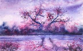 Картинка река, дерево, вечер, акварель, нарисованный пейзаж, отражение. птицы