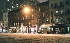 Картинка USA, storm, night, New York, Manhattan, NYC, Snow, New York City, winter, America, United States …