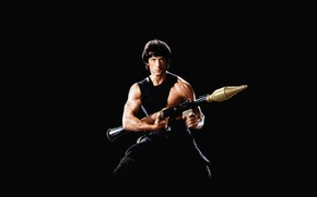 Картинка черный фон, ракетница, Сильвестр Сталлоне, базука, Sylvester Stallone, Рэмбо, Rambo