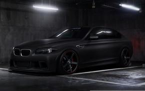 Картинка car, тюнинг, бмв, black, tuning, bmw m5, автообои, matte