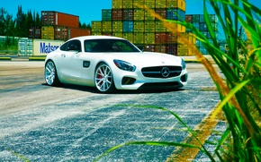 Обои mercedes-benz, amg, gt s, 2015, vossen, wheels, white, color, front