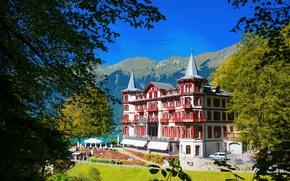 Картинка деревья, горы, Швейцария, курорт, Hotel Giessbach Brienz