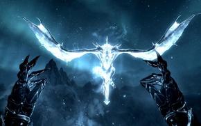 Картинка звезды, полет, ночь, дракон, игра, когти, перчатки, The Elder Scrolls V: Skyrim