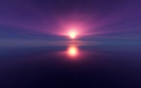 Обои небо, облака, закат, море, отражение