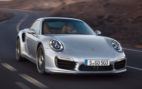 Картинка дорога, 911, Porsche, Порше, передок, Turbo, Турбо