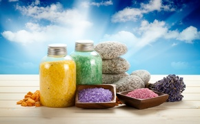 Картинка камни, баночки, sky, лаванда, спа, stones, lavender, spa, salt, соль для ванны