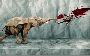 Картинка борьба, слон, ситуация, парень, абстракция, бумага