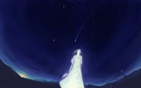 Картинка небо, девушка, звезды, ночь, маяк, аниме, арт, akio-bako