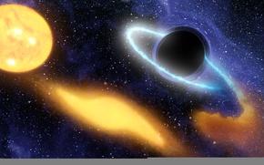 Обои пространства, дыра, черная, искривление