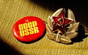 Картинка фон, звезда, значок, тень, молот, ткань, USSR, СССР, серп, кокарда
