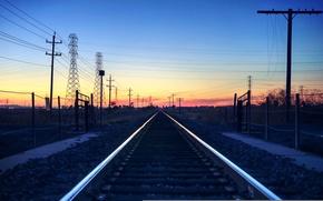 Картинка небо, закат, горизонт, железная дорога, линия электропередач