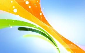 Обои линии, оранжевый, желтый, абстракция, зеленый, фон