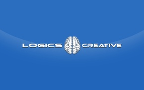 Обои стиль, минимализм, креатив, creative, logical, логика, мозг, творчество, полушария, синий, надпись
