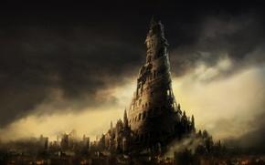 Обои рисунок, башня, ночь