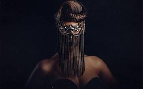 Картинка девушка, фон, маска, причёска, Star Dust