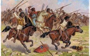 Картинка рисунок, лошади, арт, Африка, битва, мечи, большие, дротики, кавалерия, при, 202 до н. э., Заме, ...