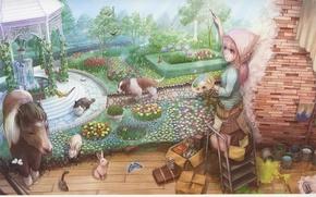 Картинка кот, бабочки, стена, краски, собака, картина, Девочка, зайцы, пони, фонтан, палитра, банки, беседка, кисти, цветник, …