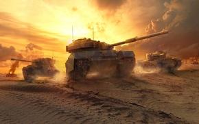 Картинка Небо, WoT, Песок, Англия, Пыль, Пламя, Мир Танков, Облака, World of Tanks, Cromwell, Британский Средний ...